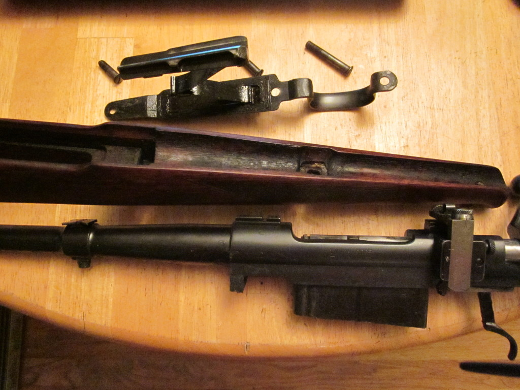 Grease applied inside the stock, and all internal metal parts on Winchester Model 54.