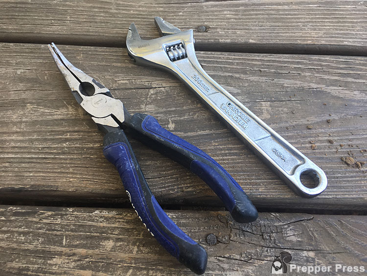 Needle-Nose Pliers and an Adjustable Wrench